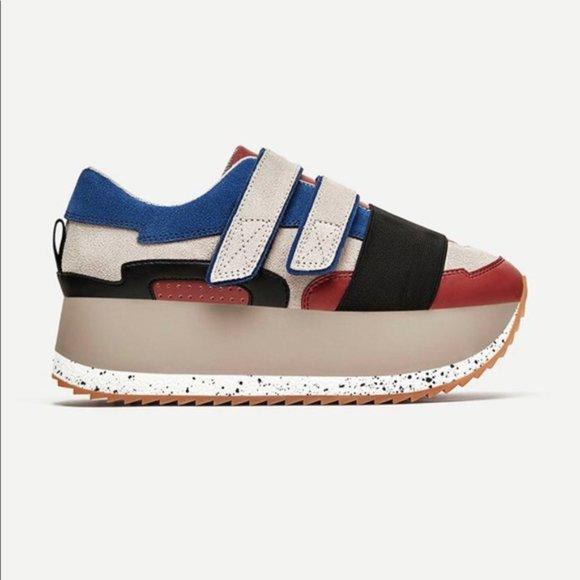 ZARA Multicoloured Leather Platform Sneakers